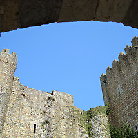 """Óbidos Castle Keep in Óbidos, Portugal <br /> A """"keep"""" is a fortified tower that was built within a castle during the Middle Ages.  This one, which is part of the Óbidos Castle, was constructed in the late 14th century by Portugal's King Ferdinand I who was also called """"The Handsome.""""  He was the last to reign from the Portuguese House of Bugundy which led to the 1383-1385 Crisis until John I won the Battle of Aljubarrota and began the House of Aviz dynasty."""