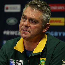 BIRMINGHAM, ENGLAND - SEPTEMBER 23: Heyneke Meyer (Head Coach) of South Africa during the South African national rugby team announcement at Regency Hyatt Birmingham on September 23, 2015 in Birmingham, England. (Photo by Steve Haag)