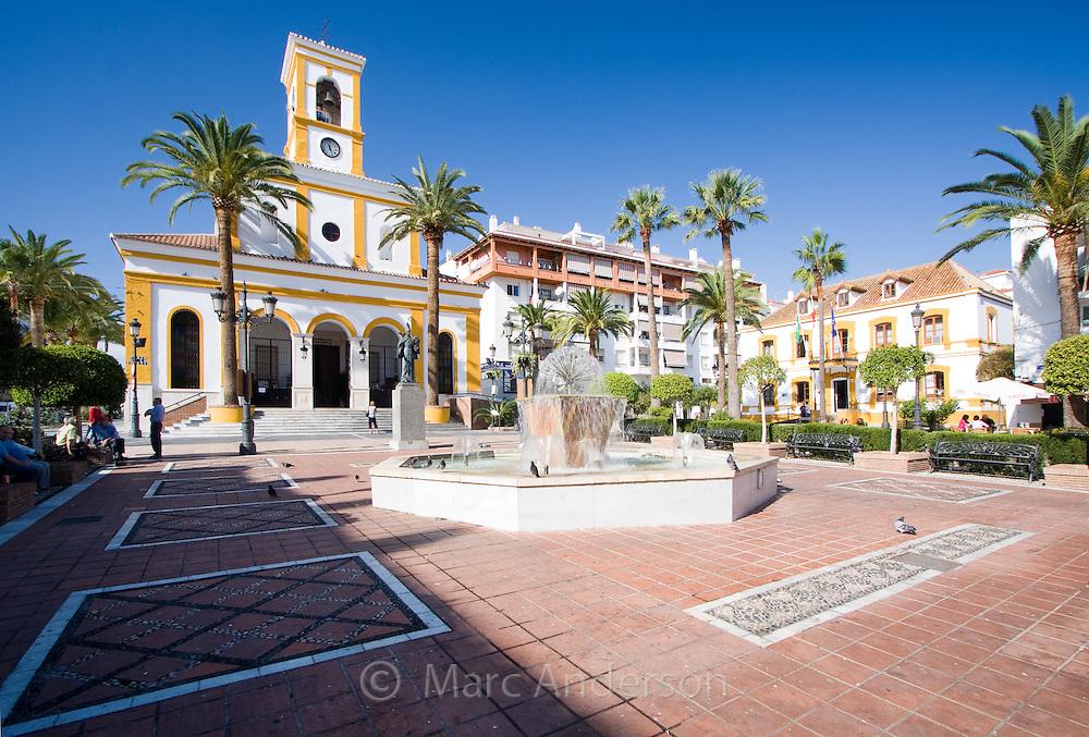 Plaza de Iglesia (Church square) in the town of San Pedro de Alcantara, Andalucia, Spain