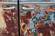 North America, USA,  Nevada, Nelson, Ghost Town, rusted car door