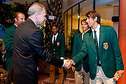 (L) Piotr Szkielkowski vice president of Polish Tennis Association and (R) Jean Andersen of South Africa while official banquet two days before the BNP Paribas Davis Cup 2013 between Poland and South Africa at MOSiR Hall in Zielona Gora on April 03, 2013...Poland, Zielona Gora, April 03, 2013..Picture also available in RAW (NEF) or TIFF format on special request...For editorial use only. Any commercial or promotional use requires permission...Photo by © Adam Nurkiewicz / Mediasport
