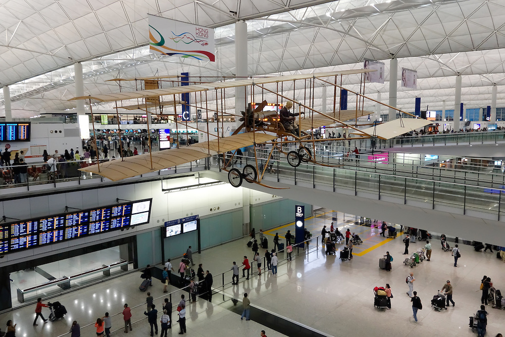 Replica airplane hanging in the passenger terminal of Hong Kong International Airport, China.