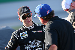 July 12, 2018 - Sparta, KY, U.S. - SPARTA, KY - JULY 12: John Hunter Nemechek (8) Joe Nemecheck Racing Chevrolet Silverado talks with Joe Nemechek (87) Joe Nemecheck Racing Chevrolet Silverado before the start of the NASCAR Camping World Truck Series Buckle Up In Your Truck 225 on July 12th, 2018, at Kentucky Speedway in Sparta, Kentucky. (Photo by Michael Allio/Icon Sportswire) (Credit Image: © Michael Allio/Icon SMI via ZUMA Press)