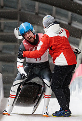 11.02.2018, Olympic Sliding Centre, Pyeongchang, KOR, PyeongChang 2018, Rodeln, Herren, 4. Lauf, im Bild David Gleirscher (AUT, 1. Platz und Goldmedaillengewinner) und Trainer Markus Prock // gold medalist and Olympic champion David Gleirscher of Austria and Headcoach Markus Prock during the Men's Luge Singles Run 4 competition at the Olympic Sliding Centre in Pyeongchang, South Korea on 2018/02/11. EXPA Pictures © 2018, PhotoCredit: EXPA/ Johann Groder