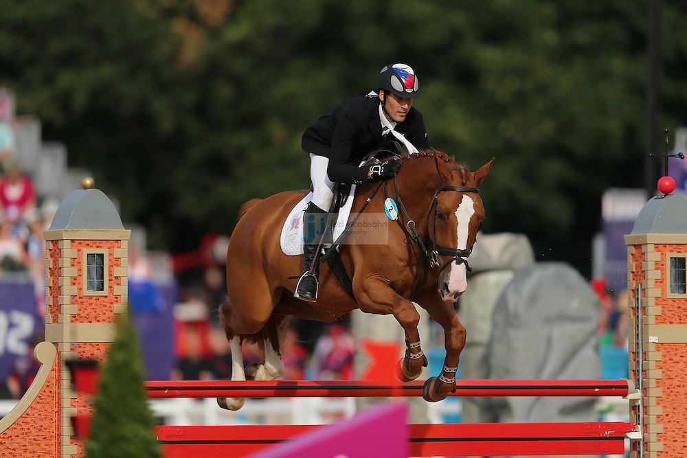 David Svoboda of the Czech Republic competes during the riding portion of the men's modern pentathlon during day 15 of the London Olympic Games in London, England, United Kingdom on August 11, 2012..(Jed Jacobsohn/for The New York Times)..