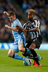James Milner of Manchester City is challenged by Rolando Aarons of Newcastle United - Photo mandatory by-line: Rogan Thomson/JMP - 07966 386802 - 29/10/2014 - SPORT - FOOTBALL - Manchester, England - Etihad Stadium - Manchester City v Newcastle United - Capital One Cup Fourth Round.