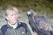 Falconry at Schloss Waldreichs, Walviertel region, Lower Austria. Pictured, master falconer Monika Hiebeler with her Golden Eagle (Aquila chrysaetos), Attila © Rudolf Abraham