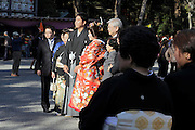 family group image being taken after the wedding ceremony Kamakura Japan