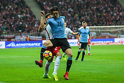November 10, 2017 - Warsaw, Poland - Bartosz Bereszynski (POL), Edinson Cavani (URU)  in action during the international friendly match between Poland and Uruguay at National Stadium on November 10, 2017 in Warsaw, Poland. (Credit Image: © Foto Olimpik/NurPhoto via ZUMA Press)