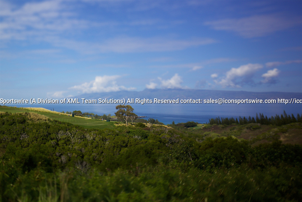 January 08 2016: View of sixth green with the island of Molokai in the background during the Second Round of the Hyundai Tournament of Champions at Kapalua Plantation Course on Maui, HI. (Photo by Aric Becker/Icon Sportswire)