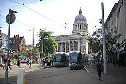Trams are halted in Nottingham city centre after activists blocked the tram tracks near Nottingham Theatre Royal to protest for social justice movement Black Lives Matter.