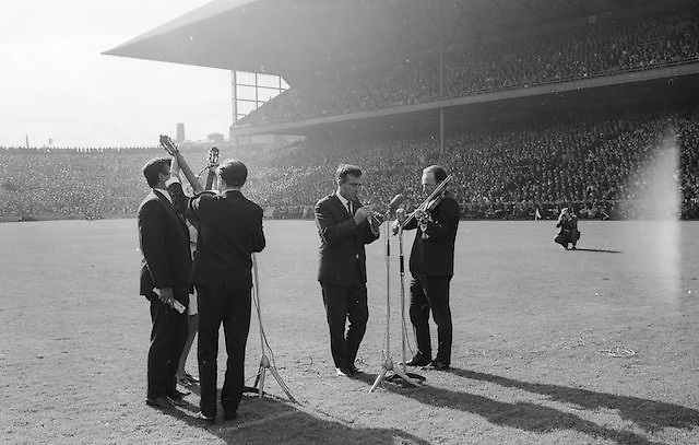 "The ""Charioteers"" Brendan O'Duill, Sean Potts provide entertainment at the All Ireland Minor Gaelic Football Final Sligo v. Cork in Croke Park on the 22nd September 1968. Cork 3-5, Sligo 1-10."