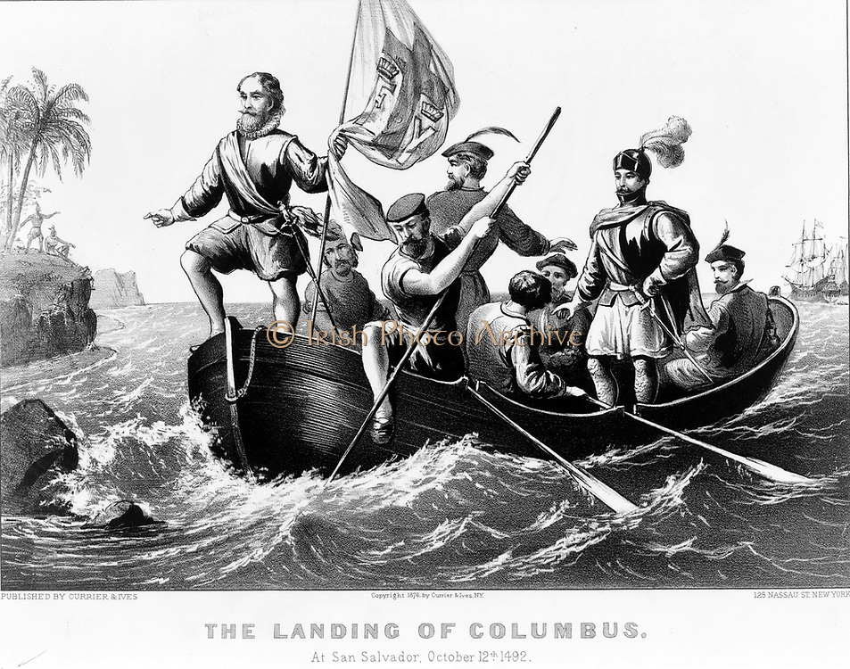 The landing of Columbus at San Salvador, October 12, 1492 Columbus standing in bow of boat holding Spanish flag. lithograph by Currier & Ives, c1876. Christopher Columbus (unknown; before 31 October 1451 – 20 May 1506) was an explorer, colonizer, and navigator, born in the Republic of Genoa, in what is today northwestern Italy.[2][3][4][5] Under the auspices of the Catholic Monarchs of Spain, he completed four voyages across the Atlantic Ocean that led to general European awareness of the American continents in the Western Hemisphere