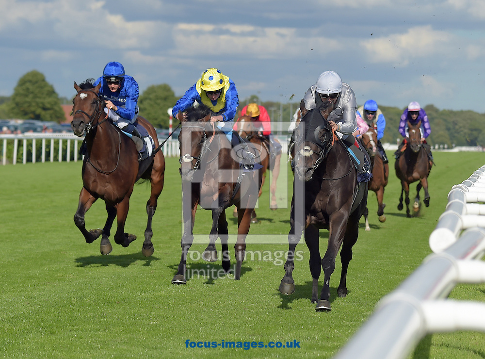 Central Square ridden by Andrea Atzeni (grey) wins crownhotel-bawtry Handicap Stakes on DFS Ladies Day during the Ladbrokes St Leger Festival at Doncaster Racecourse, Doncaster<br /> Picture by Martin Lynch/Focus Images Ltd 07501333150<br /> 08/09/2016