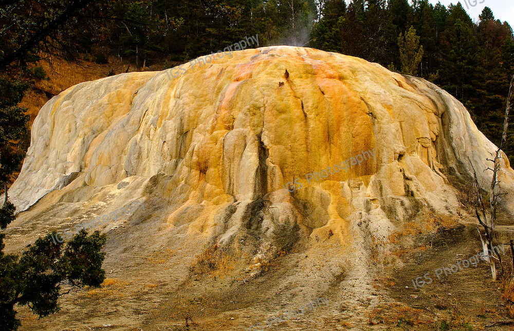 Orange Spring Mound, a travertine mound at Mammoth Hot Springs in Yellowstone National Park