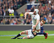 Twickenham, Great Britain, Dave ATTWOOD unload's as he is tackled during the Six Nations Rugby England vs Scotland, played at the RFU Stadium, Twickenham, ENGLAND. Saturday 14/03/2015<br /> <br /> [Mandatory Credit; Peter Spurrier/Intersport-images]