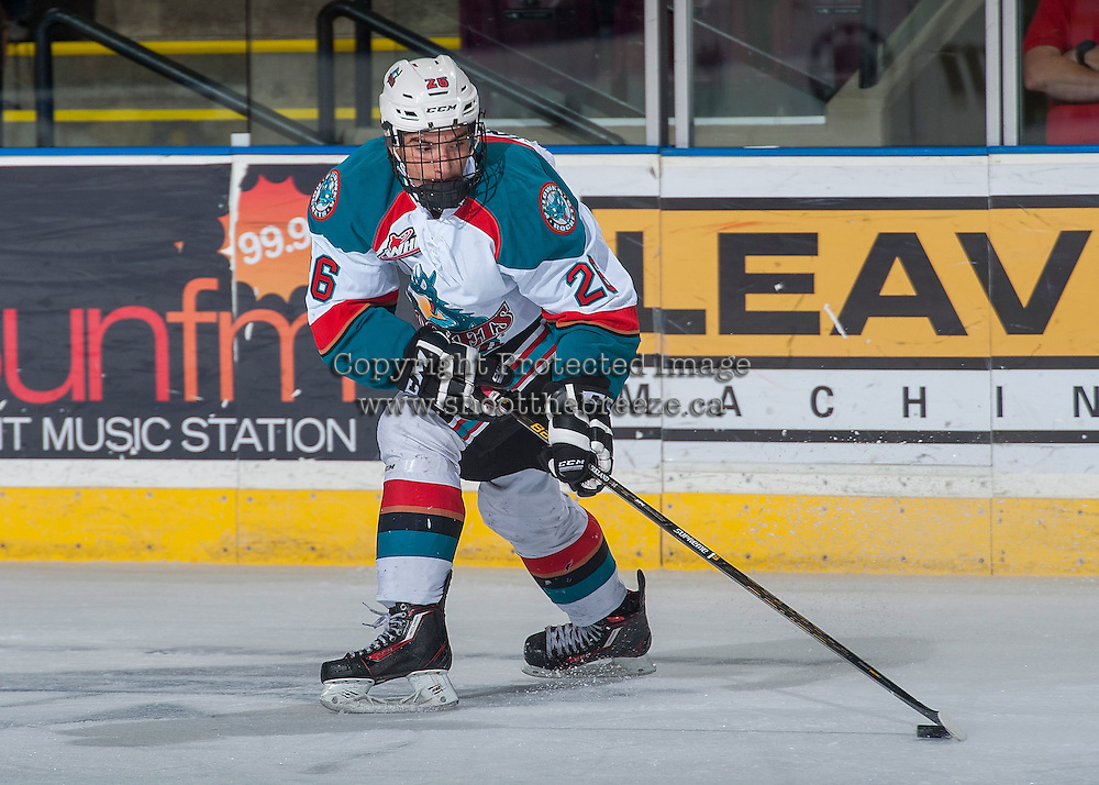 KELOWNA, CANADA - SEPTEMBER 3: Liam Kindree #26 of Kelowna Rockets skates with the puck against the Victoria Royals on September 3, 2016 at Prospera Place in Kelowna, British Columbia, Canada.  (Photo by Marissa Baecker/Shoot the Breeze)  *** Local Caption *** Liam Kindree;