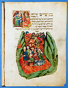 Moses leading the Children of Israel through the Red Sea. From German 15th century Bible.