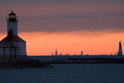 Lighthouse at Washington Park in Michigan City, Indiana with Chicago skyline in background on horizon
