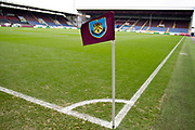 Burnley FC corner flag. The FA Cup match between Burnley and Norwich City at Turf Moor, Burnley, England on 25 January 2020.
