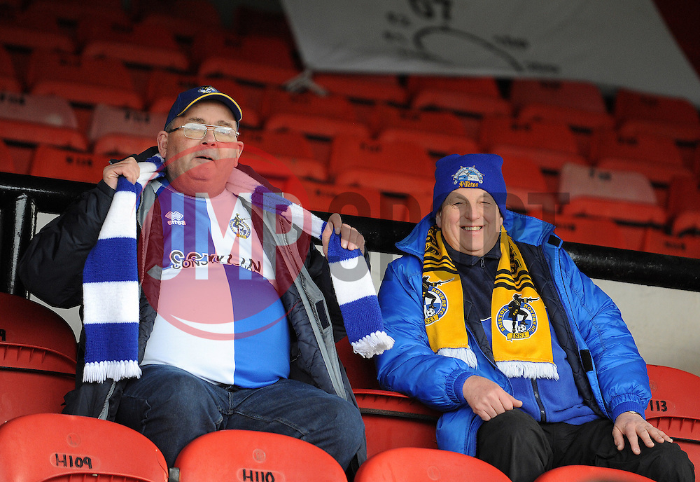 Bristol Rovers fans - Photo mandatory by-line: Neil Brookman/JMP - Mobile: 07966 386802 - 14/02/2015 - SPORT - Football - Cleethorpes - Blundell Park - Grimsby Town v Bristol Rovers - Vanarama Football Conference