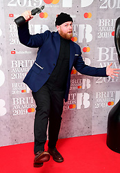 Tom Wallker with his Best British Breakthrough Act Brit Award in the press room at the Brit Awards 2019 at the O2 Arena, London.