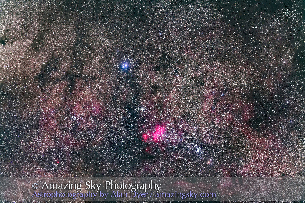 The complex region of NGC 6231 in the tail of Scorpius, with the brightest star cluster at lower right being NGC 6231 itself while the cluster at centre is NGC 6242. The nebula is IC 4628. The pair of bright stars at top are Mu 1 and 2 Scorpii. The colourful double star at bottom is Zeta 1 and 2 Scorpii. To the naked eye this area appears elongated and fuzzy, like a comet. It was mistaken for Comet Halley in 1986. <br /> <br /> This is a stack of 4 x 2-minute exposures with the 200mm lens at f/2.8 and filter-modified Canon 5D MkII at ISO 2500. Tracked on the AP 400 mount.