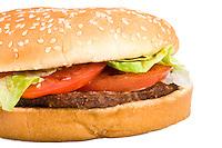 Tasty hamburger isolated in white close up.