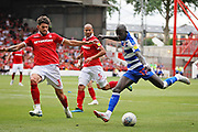 Reading striker Modu Barrow (17) gets in a shot during the EFL Sky Bet Championship match between Nottingham Forest and Reading at the City Ground, Nottingham, England on 11 August 2018.