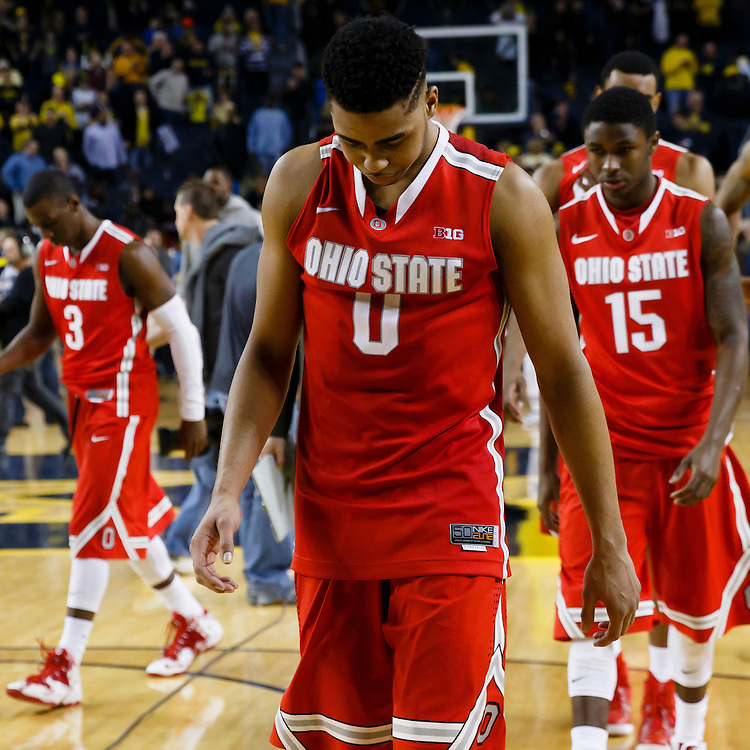 Feb 22, 2015; Ann Arbor, MI, USA; Ohio State Buckeyes guard D'Angelo Russell (0) walks off the court after the game against the Michigan Wolverines at Crisler Center. Michigan won 64-57. Mandatory Credit: Rick Osentoski-USA TODAY Sports