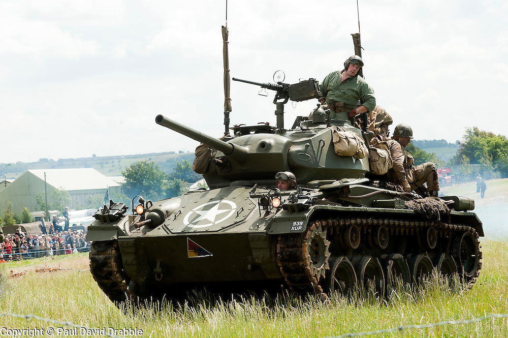 A US M24 Chaffee Light Tank of the 2nd armoured division at Spam 1940s Wartime Weekend Heckmondwike <br />