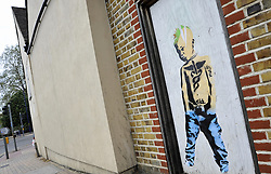 © Licensed to London News Pictures. 15/06/2012 .Graffiti art thought to be by Banksy has appeared in Dartford town centre today 15th June 2012. Photo credit : Grant Falvey/LNP