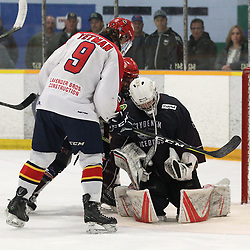 DRYDEN, ON - MAY 1: Bryce Yetman #9 of the Wellington Dukes looks as Landon Pavlisin #35 of the Dryden GM Ice Dogs  makes the save in the third period during Game Two of the Central Canadian Junior Championship during the 2018 Dudley Hewitt Cup on May 1, 2018 at the Dryden Memorial Arena in Dryden, Ontario, Canada. (Photo by Tim Bates/DHC via OJHL Images)