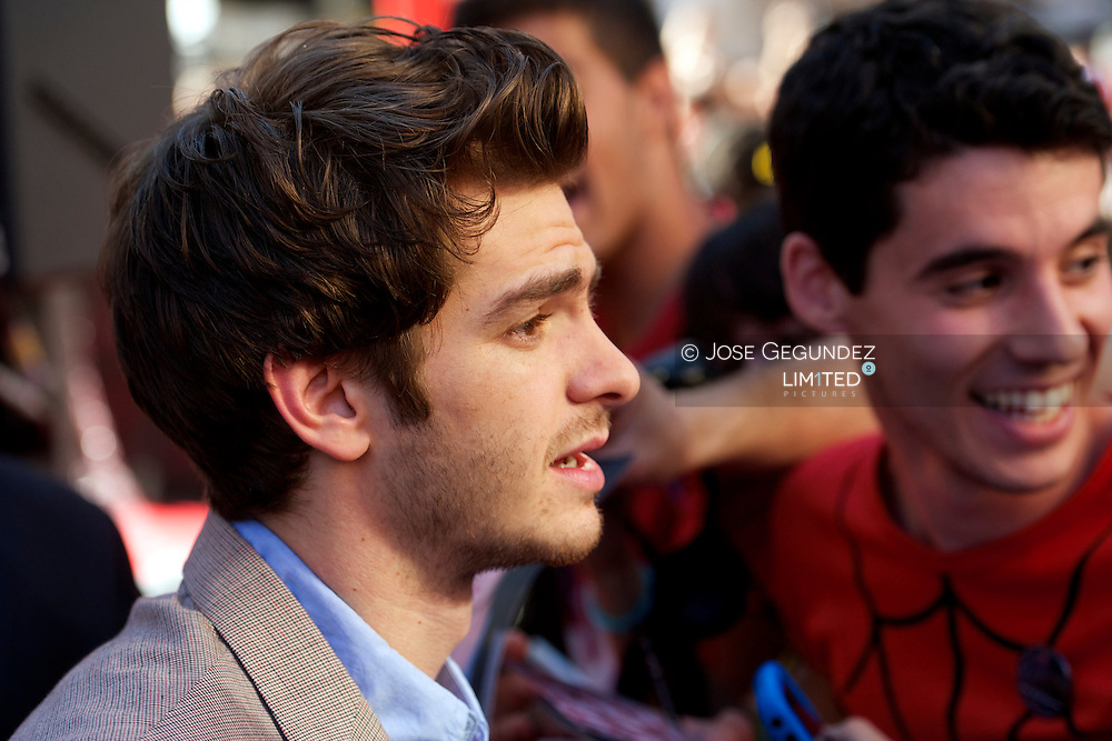 Actor Andrew Garfield attend the premiere of 'The Amazing Spider-Man' at Callao Cinema in Madrid