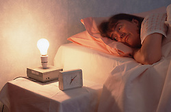 Flashing light alarm clock for people with hearing impairments,
