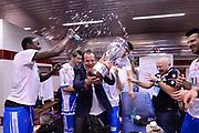 DESCRIZIONE : Milano Coppa Italia Final Eight 2014 Finale Montepaschi Siena Banco di Sardegna Sassari<br /> GIOCATORE : Paolo Citrini<br /> CATEGORIA : esultanza team spogliatoio coach coppa<br /> SQUADRA : Banco di Sardegna Sassari<br /> EVENTO : Beko Coppa Italia Final Eight 2014<br /> GARA : Montepaschi Siena Banco di Sardegna Sassari<br /> DATA : 09/02/2014<br /> SPORT : Pallacanestro<br /> AUTORE : Agenzia Ciamillo-Castoria/C.De Massis<br /> Galleria : Lega Basket Final Eight Coppa Italia 2014<br /> Fotonotizia : Milano Coppa Italia Final Eight 2014 Finale Montepaschi Siena Banco di Sardegna Sassari<br /> Predefinita :