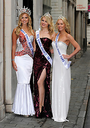 Miss England Alize Lily Mounter (left) with former winners  Laura Coleman (centre) and Lady Angie Sinclair  at the  launch of  the Miss England dress recycled charity auction, supporting underprivileged children worldwide in London, Wednesday 9th May 2012. Photo by: Chris Joseph / i-Images