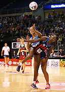 Mwai Kumwenda of the Tactix competes for the ball with Phoenix Karaka of the Steel during the ANZ Championship Netball game between the Tactix v Steel at Horncastle Arena in Christchurch. 6th April 2015 Photo: Joseph Johnson/www.photosport.co.nz
