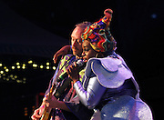 Simon Ratcliffe and Sharlene Hector of the Basement Jaxx perform during the 30th Anniversary season of Central Park SummerStage in Rumsey Playfield in New York City, New York on July 01, 2015.