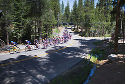 The peloton rides through the outskirts of South Lake Tahoe on Stage 2 of the Amgen Tour of California - a 108 km road race, starting and finishing in South Lake Tahoe on May 18, 2018, in California, United States. (Photo by Balint Hamvas/Velofocus.com)