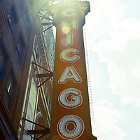 Chicago Theatre sign. High resolution photograph of the Chicago Theater marquee in downtown Chicago, Illinois.  The Chicago Theatre is a Chicago Landmark and is listed with the National Register of Historic Places.