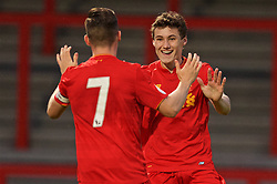 STEVENAGE, ENGLAND - Monday, September 19, 2016: Liverpool's Harry Wilson [#7] celebrates scoring the first goal against Tottenham Hotspur with team-mate Matthew Virtue during the FA Premier League 2 Under-23 match at Broadhall. (Pic by David Rawcliffe/Propaganda)