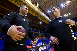 Boris Denic, head coach of Slovenia and Bojan Cotar, assistant coach of Slovenia during practice session of Slovenia National Handball team during Main Round of 10th EHF European Handball Championship Serbia 2012, on January 21, 2012 in Spens Sports Center, Novi Sad, Serbia. (Photo By Vid Ponikvar / Sportida.com)