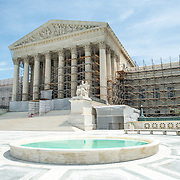 US Supreme Court Renovations. Renovations to the building of the US Supreme Court starting in the summer of 2012. Scaffolding covers much of the building and is being added to the front portico. The fountains have been turned off.