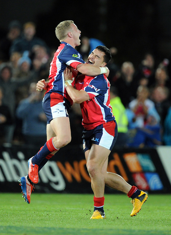 Tasmans' Mitchell Scott, left and  James Lowe celebrate their win over Hawkes Bay in the ITM Cup Championship Final at Trafalgar Park, Nelson, New Zealand, Friday, October 25, 2013. Credit:SNPA / Ross Setford