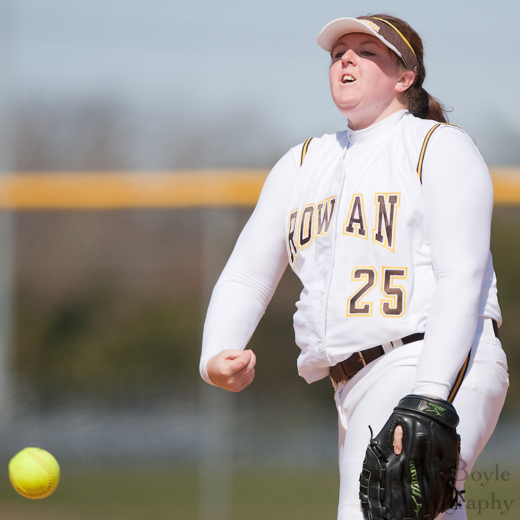 Rowan University junior pitcher Amanda Singer (25) throws a no hitter .during the first game of a double header vs Swarthmore College.