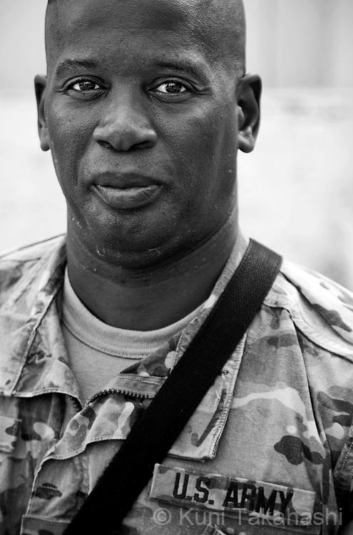CPL Abdul Karim Dixon, 46 of Shalimarm FL.Delta Co. 6-4 Cav 1st Infantry Div.at FOB Salerno in Afghanistan on Aug 12, 2011.(Photo by Kuni Takahashi)