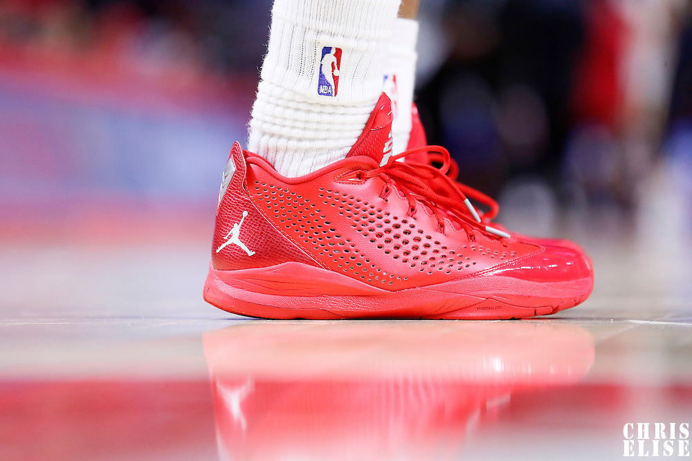 17 October 2014: Close view of Los Angeles Clippers guard Chris Paul (3) shoes during the Los Angeles Clippers 101-97 victory over the Utah Jazz, in a preseason game, at the Staples Center, Los Angeles, California, USA.