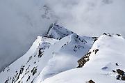 Snowy ridge on Similaun Peak in the Alps on the Austria/Italy border.