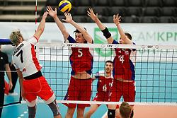 20170525 NED: 2018 FIVB Volleyball World Championship qualification, Koog aan de Zaan<br />Lorenz Koraimann (7) of Austria, Arnaud Maroldt (5) of Luxembourg, Chris Zuidberg (14) of Luxembourg<br />©2017-FotoHoogendoorn.nl / Pim Waslander